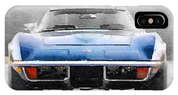 Classic Cars iPhone Case - 1972 Corvette Front End Watercolor by Naxart Studio