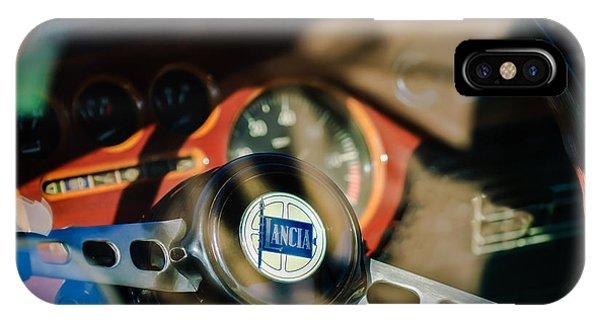 1972 iPhone Case - 1972 Lancia Fulvia Steering Wheel Emblem -0435c by Jill Reger