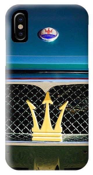 1972 iPhone Case - 1972 Maserati Ghibli Grille - Hood Emblems by Jill Reger