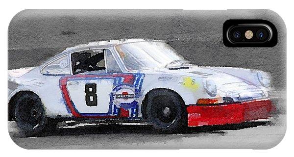 Classic Cars iPhone Case - 1973 Porsche 911 Watercolor by Naxart Studio