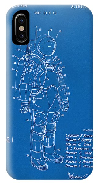 Space Ships iPhone Case - 1973 Space Suit Patent Inventors Artwork - Blueprint by Nikki Marie Smith