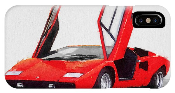 Classic Cars iPhone Case - 1974 Lamborghini Countach Open Doors Watercolor by Naxart Studio