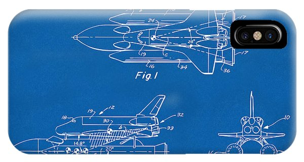 Space Ships iPhone Case - 1975 Space Shuttle Patent - Blueprint by Nikki Marie Smith