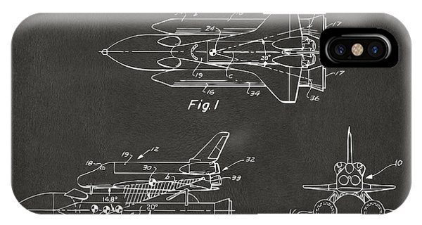 1975 Space Shuttle Patent - Gray IPhone Case