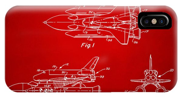 1975 Space Shuttle Patent - Red IPhone Case