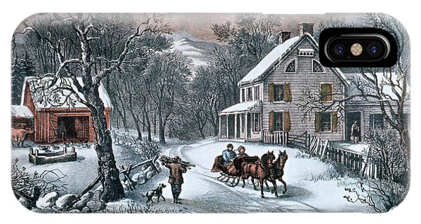 Barn Snow iPhone Case - 1980s American Homestead Winter - by Vintage Images