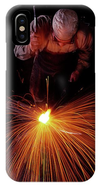 Anvil iPhone Case - 1980s Blacksmith Working White Hot Iron by Vintage Images