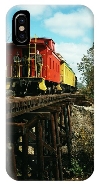 Red Caboose iPhone Case - 1980s Now Defunct Kettle Moraine Scenic by Vintage Images