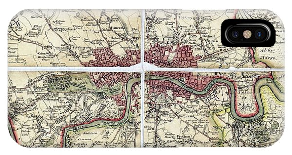 North London iPhone Case - 18th Century Map Of London by Library Of Congress/science Photo Library