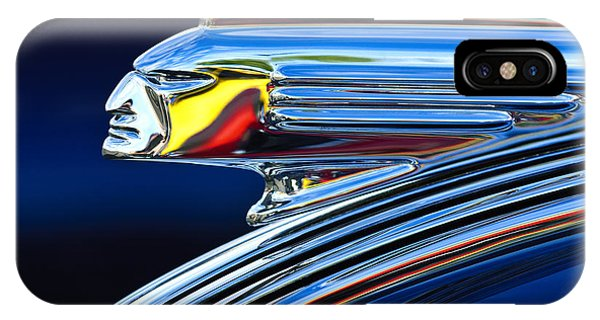 IPhone Case featuring the photograph 1939 Pontiac Silver Streak Chief Hood Ornament by Jill Reger