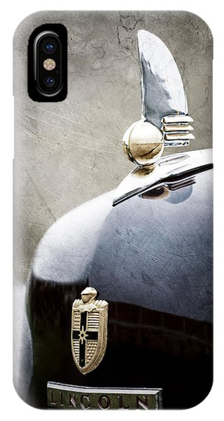 Lincoln Continental iPhone Case - 1942 Lincoln Continental Cabriolet Hood Ornament - Emblem by Jill Reger