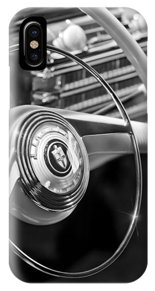 Lincoln Continental iPhone Case - 1942 Lincoln Continental Cabriolet Steering Wheel Emblem by Jill Reger
