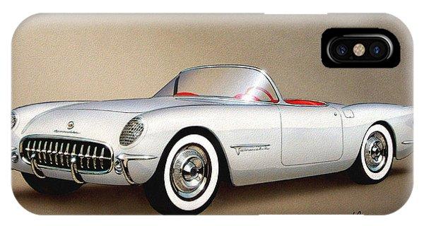 Classic Cars iPhone Case - 1953 Corvette Classic Vintage Sports Car Automotive Art by John Samsen
