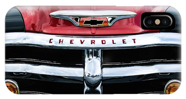 IPhone Case featuring the photograph 1955 Chevrolet 3100 Pickup Truck Grille Emblem by Jill Reger