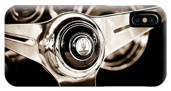 1958 iPhone Case - 1958 Maserati Steering Wheel Emblem by Jill Reger