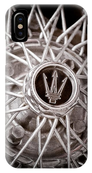 1972 iPhone Case - 1972 Maserati Ghibli 4.9 Ss Spyder Wheel Emblem by Jill Reger