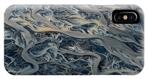 iPhone Case - An Aerial View Of Streams Of Glacier by Keith Ladzinski