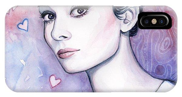 Actor iPhone Case - Audrey Hepburn Fashion Watercolor by Olga Shvartsur