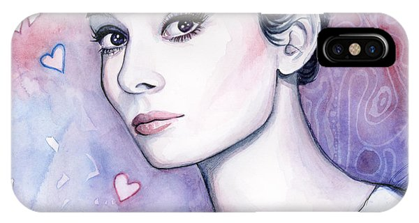 Audrey Hepburn Fashion Watercolor IPhone Case