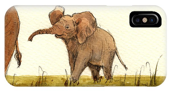 Day iPhone Case - Baby Elephant by Juan  Bosco