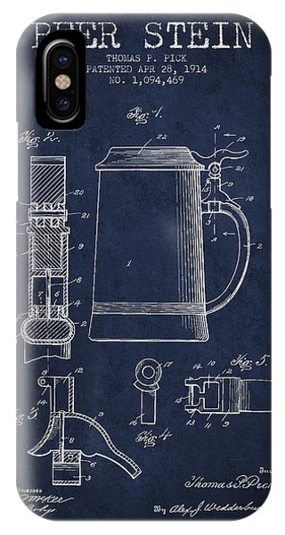 Beer Stein Patent From 1914 - Navy Blue IPhone Case