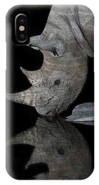 Black Rhinoceros At Night Phone Case by Tony Camacho/science Photo Library