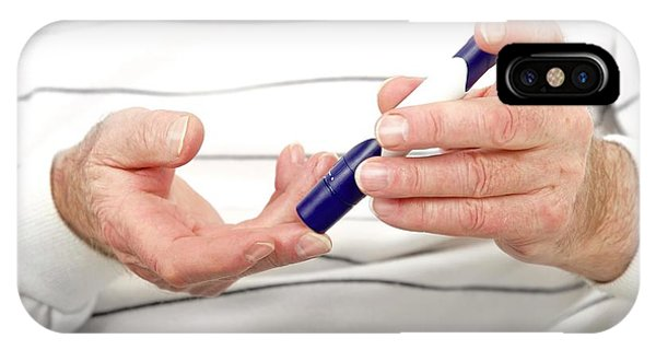 Blood Sugar Level Testing In Diabetes Phone Case by Lea Paterson/science Photo Library