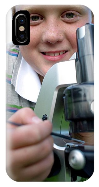 Human Interest iPhone Case - Boy Using A Light Microscope by Ian Hooton/science Photo Library