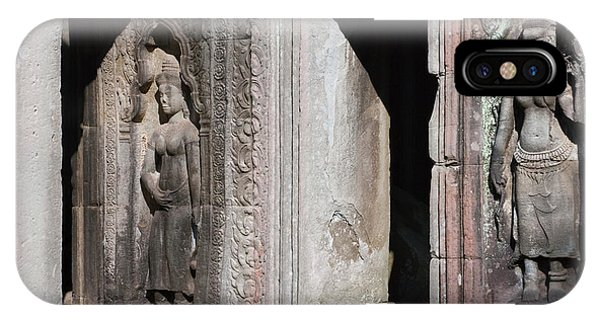 Angkor Thom iPhone Case - Buddhist Statues At Bayon Temple by Keren Su