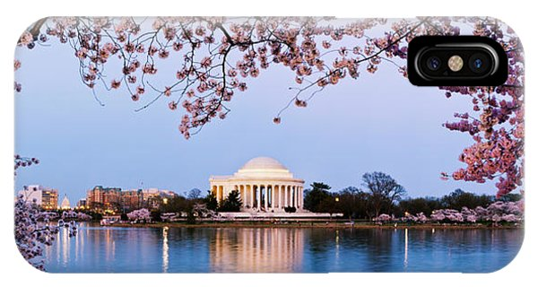 Jefferson Memorial iPhone Case - Cherry Blossom Tree With A Memorial by Panoramic Images