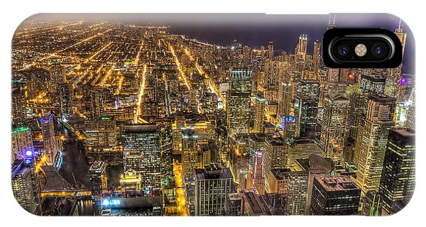 Chicago Skyline At Night - Hancock And Trump Phone Case by Michael  Bennett