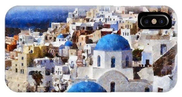 Colorful Oia In Santorini Island IPhone Case