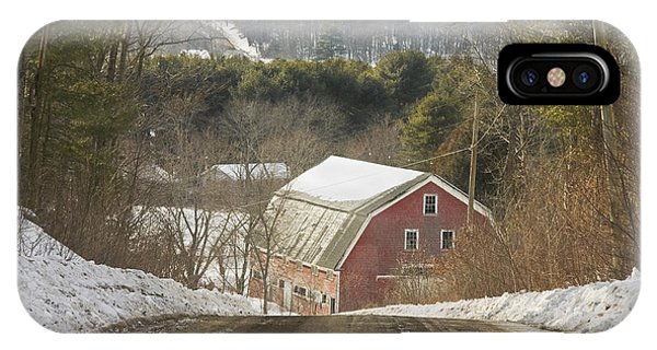 Country Road And Barn In Winter Maine IPhone Case
