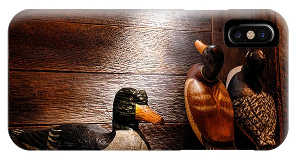 Wood Ducks iPhone Case - Decoys In Old Hunting Cabin by Olivier Le Queinec
