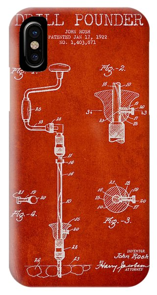Woodworking iPhone Case - Drill Pounder Patent Drawing From 1922 by Aged Pixel