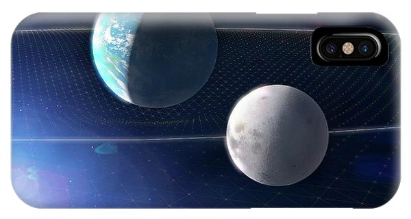 Earth Orbit iPhone Case - Earth And Moon And Space-time by Ramon Andrade 3dciencia