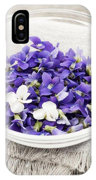 Wild Violet iPhone Case - Edible Violets In Bowl by Elena Elisseeva