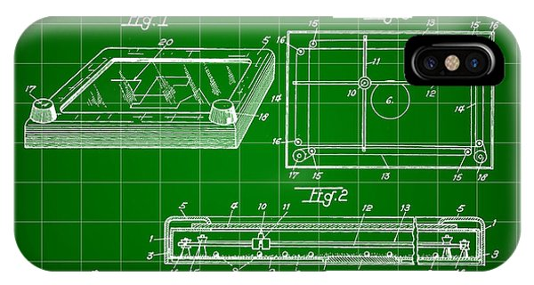 Etch-a-sketch iPhone Case - Etch A Sketch Patent 1959 - Green by Stephen Younts