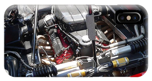 IPhone Case featuring the photograph Ferrari Engine by Jeff Lowe