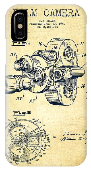 Camera iPhone Case - Film Camera Patent Drawing From 1938 by Aged Pixel