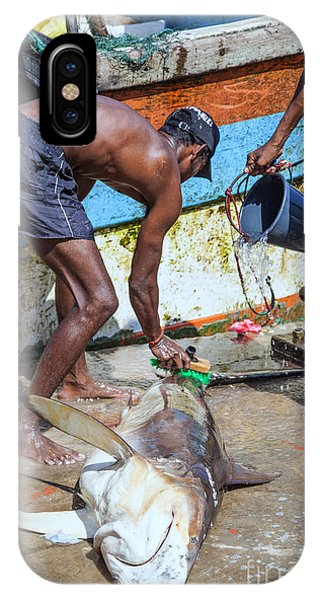 Tropes iPhone Case - Fishermen At The Harbour by Gina Koch