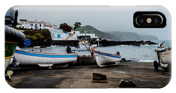 Fishing Boats On Wharf With View Of Houses  IPhone Case
