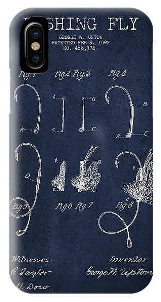 Fishing iPhone Case - Fishing Fly Patent Drawing From 1892 by Aged Pixel