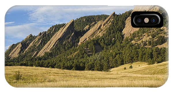 Flatirons With Golden Grass Boulder Colorado IPhone Case
