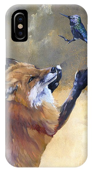 Fox Dances For Hummingbird IPhone Case