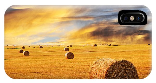 Golden Sunset Over Farm Field With Hay Bales IPhone Case