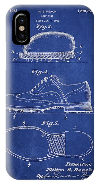 Golf iPhone Case - Golf Shoe Patent Drawing From 1931 by Aged Pixel