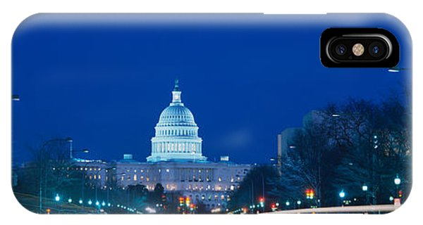 Capitol Building iPhone Case - Government Building Lit Up At Dusk by Panoramic Images