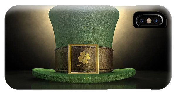 Irish iPhone Case - Green Leprechaun Shamrock Hat by Allan Swart