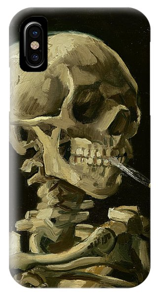 Head Of A Skeleton With A Burning Cigarette IPhone Case